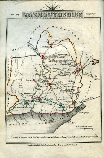 Monmouthshire County Map by John Cary 1790 - Reproduction